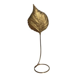 1970s Vintage Tommaso Barbi Mid Century Italian Brass Leaf Floor Lamp For Sale