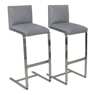 Pair of Bar Height Flat Bar Polished Steel Bar Stools For Sale