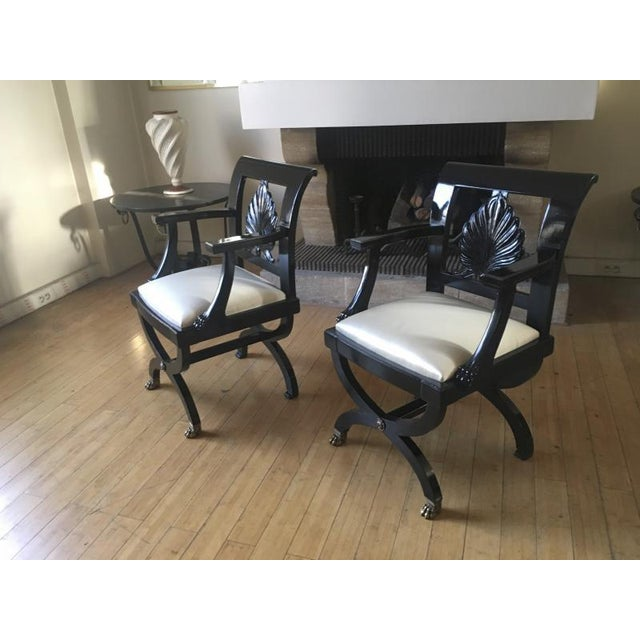 Bronze Maison Jansen Chicest Black Neoclassic Exceptional Pair of Armchairs For Sale - Image 7 of 8