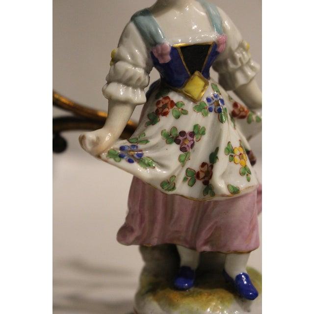 Gilt Bronze Porcelain Figurine Candelabras - a Pair For Sale - Image 9 of 11