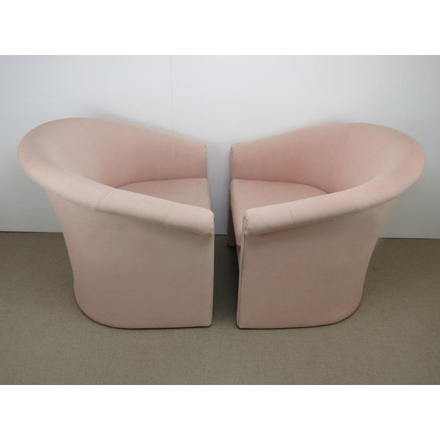 1960s 1960s Milo Baughman Style Muted Rose Pink Barrel Back Tub Chairs - a Pair For Sale - Image 5 of 13