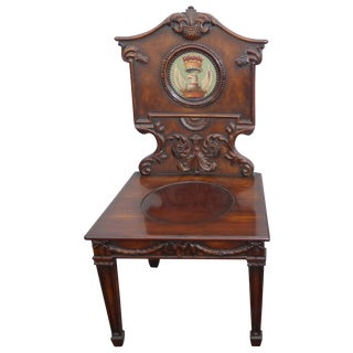 Vintage Federal Style Ornately Carved Solid Wood Griffin Crest Accent Chair For Sale