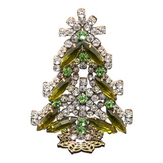 Vintage Czech Crystal and Rhinestone Table Top Mantle Christmas Tree For Sale