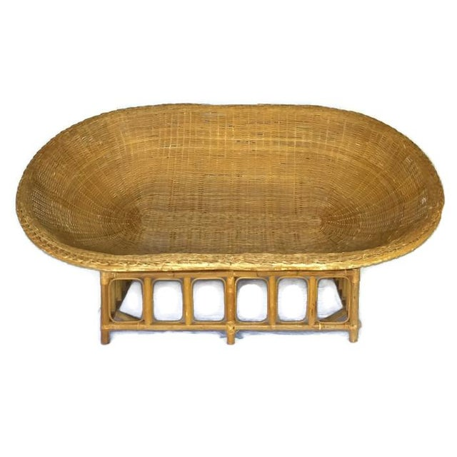 1970s Vintage Bamboo & Rattan Scoop Sofa - Image 6 of 10