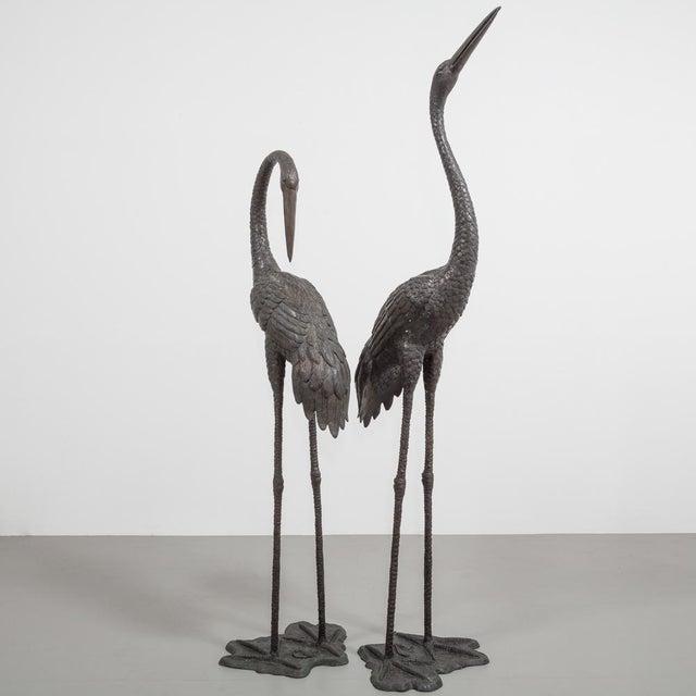 Bronze Cranes Circa 1970s For Sale - Image 4 of 8