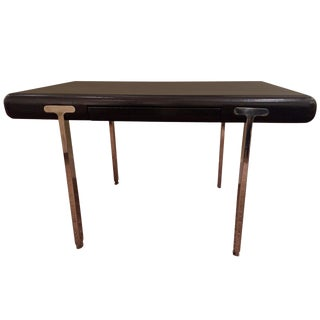 Black Leather and Stainless Steel Desk by John Mascheroni For Sale