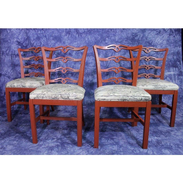 Red Painted Antique Dining Chairs - Set of 4 For Sale - Image 11 of 11 - Red Painted Antique Dining Chairs - Set Of 4 Chairish