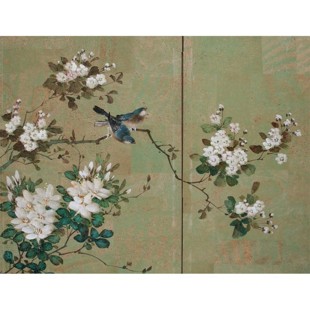 Early 20th Century Early 20th Century Japanese Four Panel Byobu Screen For Sale - Image 5 of 13