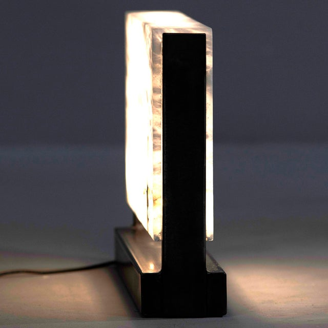 Hand Carved Italian Alabaster Rectangular Led Table Lamp For Sale In Detroit - Image 6 of 13