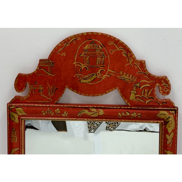Pair of Hand Painted Chinoiserie Mirrors For Sale - Image 4 of 7