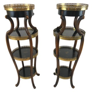 Pair of Dramatic Theodore Alexander Hand Painted Ebonized Wood and Brass Stands For Sale