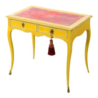 19th Century Venetian Painted Petite Ladies Desk w/ Red Leather Top