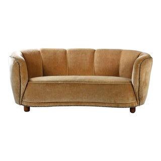 Curved Banana Sofa in the Style of Viggo Boesen / Fritz Hansen, Denmark, 1940s For Sale