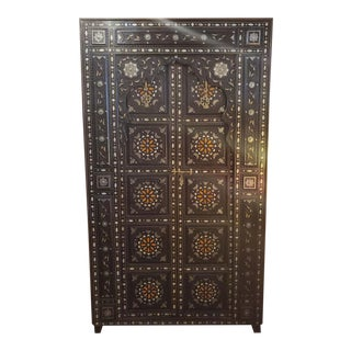 Moroccan Metal and Bone Inlay Wooden Door For Sale
