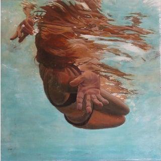 "Carol Bennett ""Twist"" Underwater Swimmer Oil & Acrylic Painting on Wood Panel For Sale"