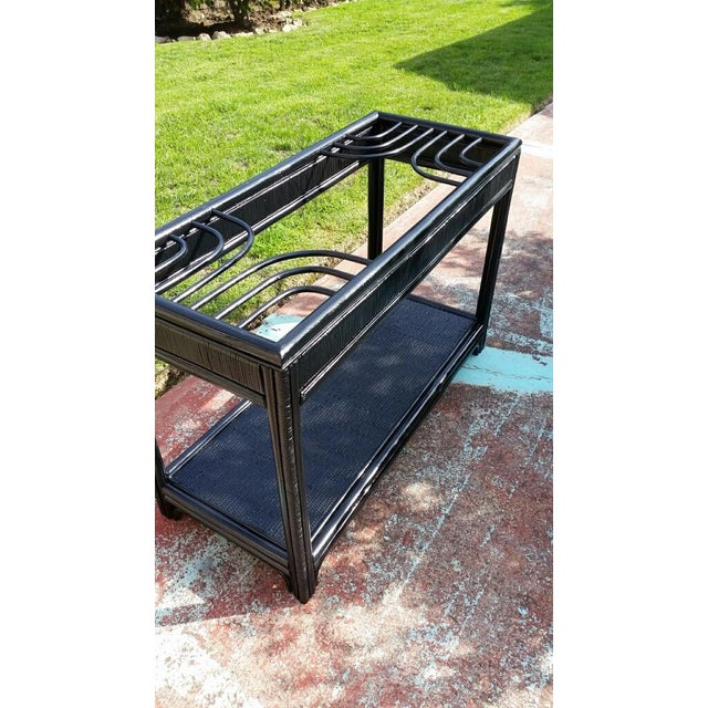 Vintage Glass Top Rattan Console Table - Image 7 of 10