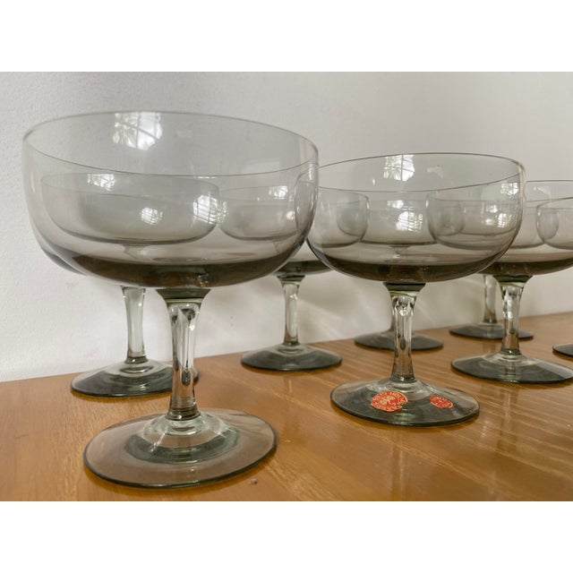 1950s 1950s Holmegaard Denmark Elsinore Smoke Glass Stemware - Set of 8 For Sale - Image 5 of 9