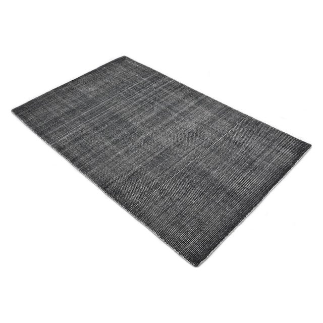Charcoal Halsey, Contemporary Solid Hand Loomed Area Rug, Charcoal, 5 X 8 For Sale - Image 8 of 9