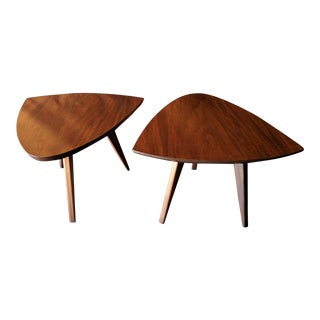 "Mid Century Refinished ""Guitar Pick"" side tables"