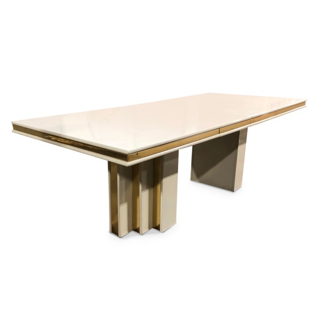 Roger Rougier 1970s Contemporary Roger Rougier Brass and Lacquered Dining Table For Sale - Image 4 of 8