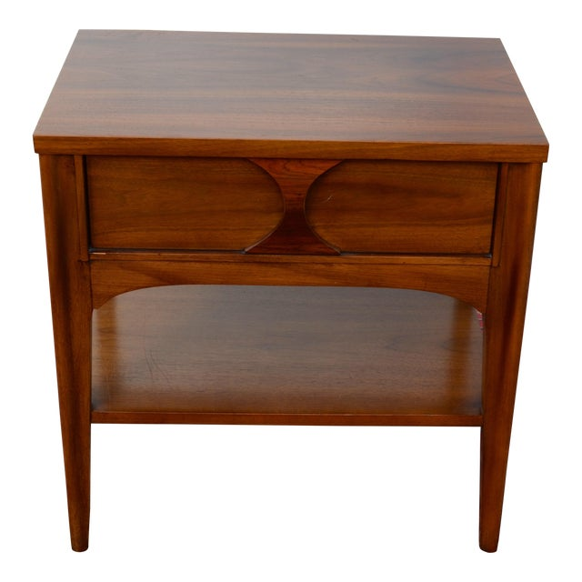 1960s Mid Century Modern Walnut and Rosewood Perspecta Night Stand by Kent Coffey For Sale