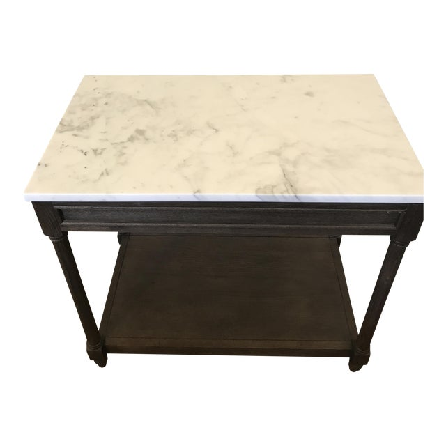 Restoration Hardware Cararra Marble Side Table - Image 1 of 7