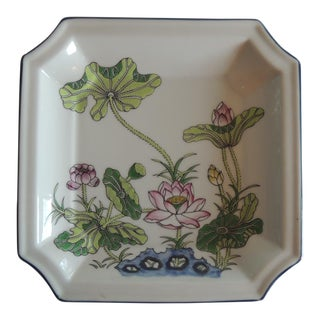 Vintage Pink and Green Ceramic Catchall Dish For Sale