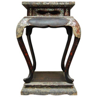 19th Century Japanese Meiji Lacquer Mother of Pearl Stand For Sale