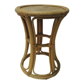 Vintage Round Bamboo and Rattan Side Table For Sale