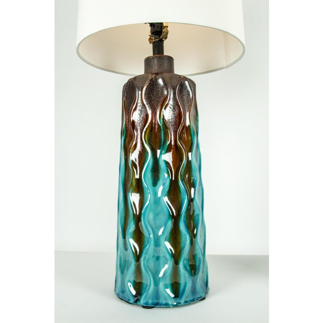 Turquoise Vintage Mid-Century Modern Glazed Porcelain Table Lamps - a Pair For Sale - Image 8 of 10