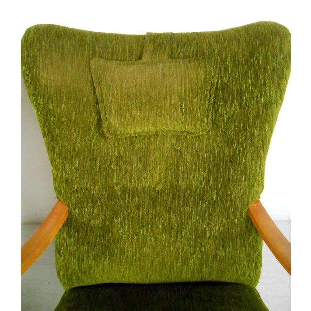 Green Mid-Century Modern High Back Lounge Chairs - A Pair For Sale - Image 8 of 11
