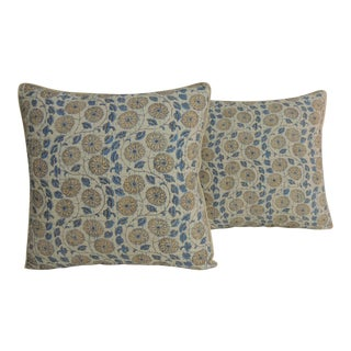 "Pair of Indian Blue and White Quilted ""Lotus"" Decorative Pillows For Sale"