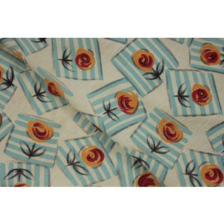 Vintage French Art Deco Floral Geometric Blue Orange & Red Fabric For Sale