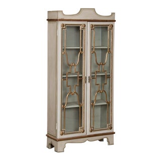 Swedish Painted Vitrine/Bookcase Cabinet For Sale