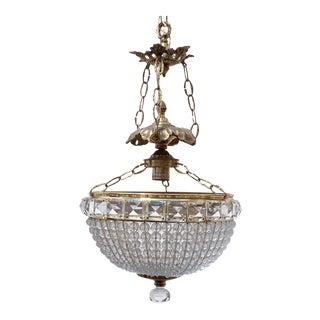 Antique Brass Beaded Basket Chandelier For Sale