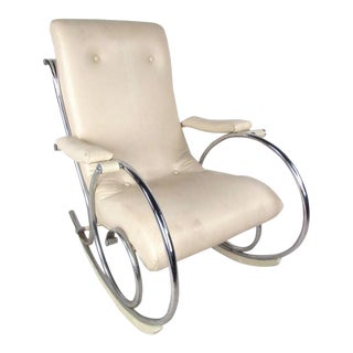 Vintage Modern Thonet Style Chrome Frame Rocking Chair For Sale