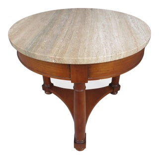 20th Century Empire Heritage Side Table With Italian Marble Top For Sale