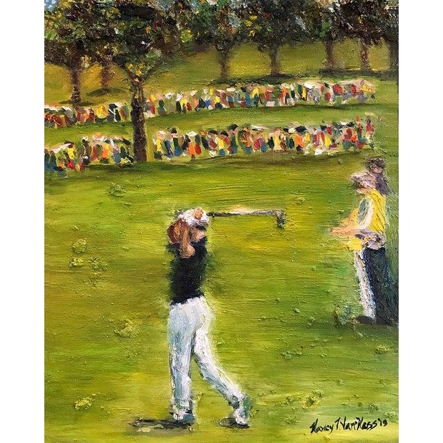 Kelly Green Tiger Woods Pga Golf Original Framed Oil Painting Signed Art For Sale - Image 8 of 10
