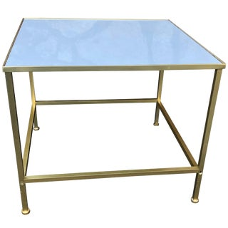 Paul McCobb Style Brass Frame Side Table With White Vitrolite Glass Top For Sale