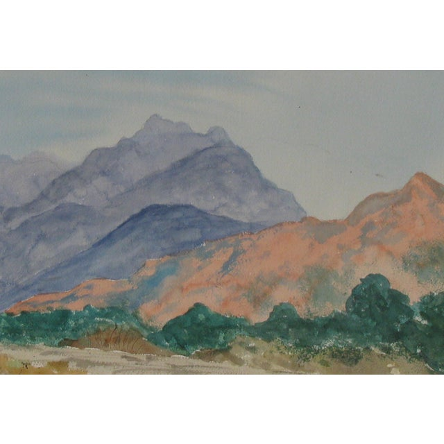 Lovely, ethereal watercolor of northern New Mexico in the spring. Unsigned. Unframed. Condition is very good with wear on...