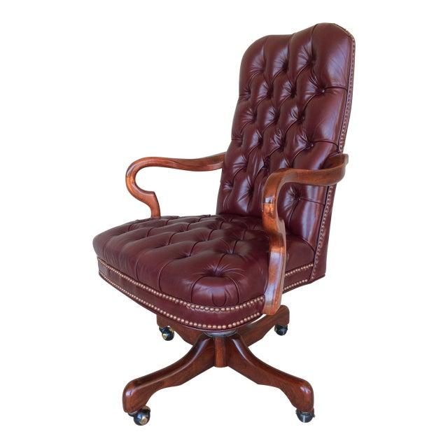 fairfield burgundy leather desk chair chairish