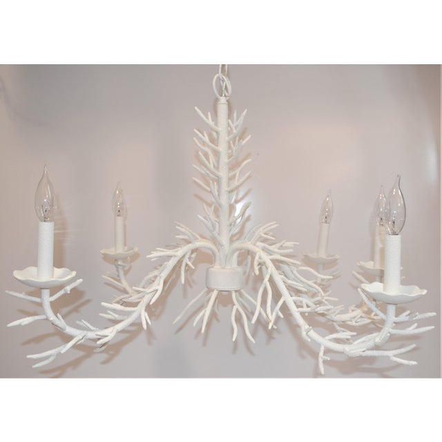 White 5 Arm Faux Coral Chandelier For Sale - Image 10 of 10