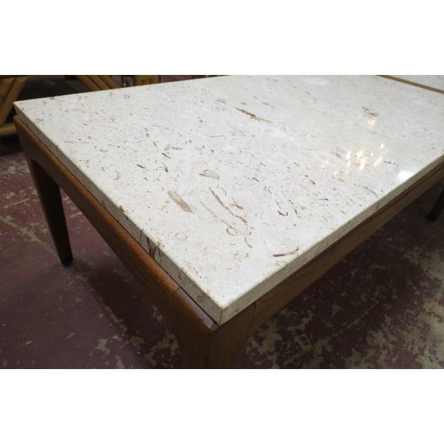 Vintage Mid Century Modern Lane Walnut Coffee Table With A Marble Top C1960 Chairish