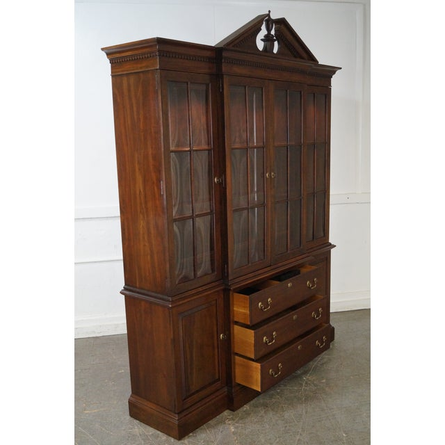 Ethan Allen Georgian Court Solid Cherry Chippendale Style Breakfront - Image 9 of 10