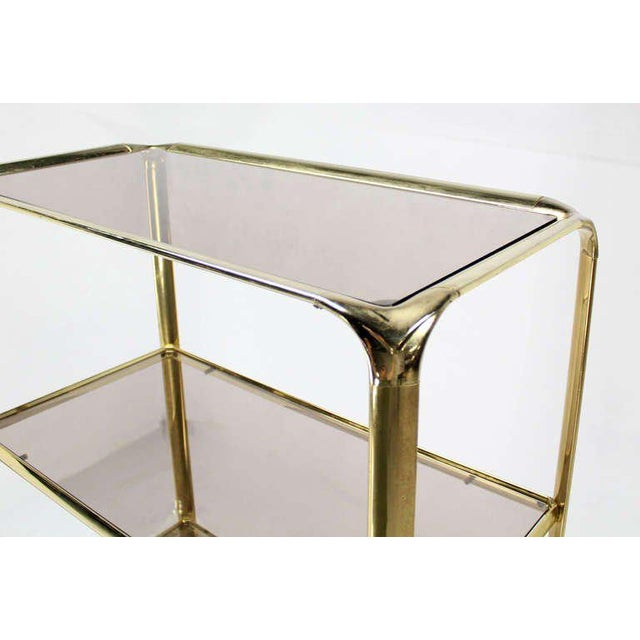 Mid Century Modern Five Tier Brass and Smoked Glass Etagere Shelving Unit - Image 7 of 10