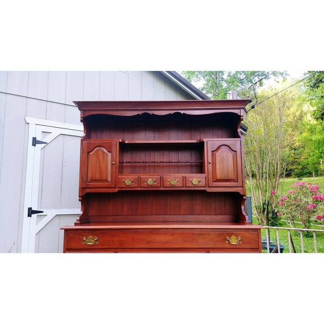 Frederick Duckloe & Bros Solid Wild Black Cherry Sideboard & China Cabinet Hutch For Sale - Image 12 of 13