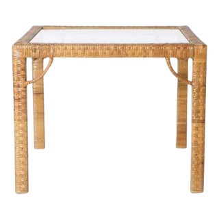 Rattan Wrapped Side Table C. 1960 For Sale