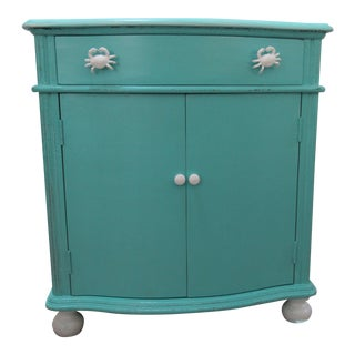 Vintage Coastal Cabinet With Crab Pulls For Sale