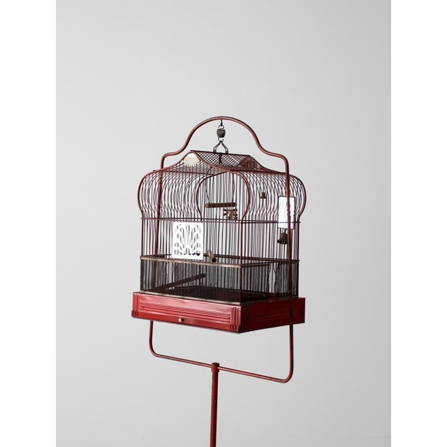 Red Antique Crown Bird Cage With Stand For Sale - Image 8 of 10