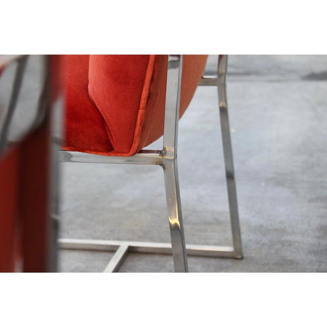 Milo Baughman for Thayer Coggin Mid Century Modern Milo Baughman for Thayer Coggin Rust Persimmon Dining Chairs-Set of 6 For Sale - Image 4 of 10